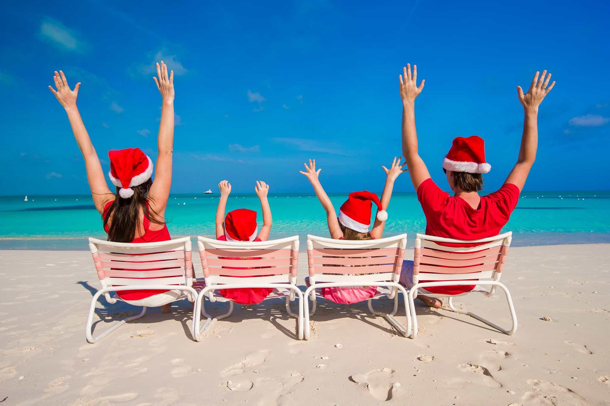 Family at the beach at Christmas